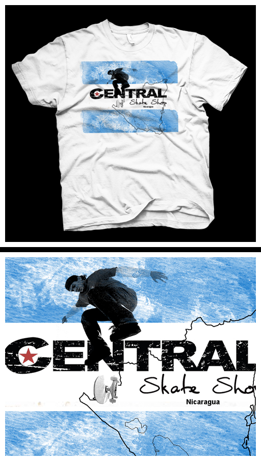 Central Skate Shop - T-shirt proposal design for Chico Brenes's Central Skate Shop (Nicaragua)